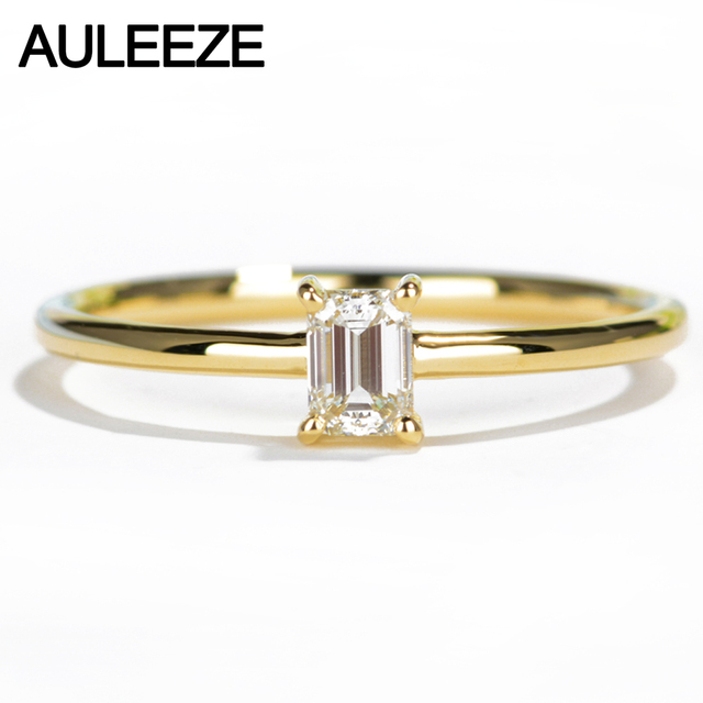 AULEEZE Solitaire Natural Diamond Engagement Ring Solid 18K Yellow