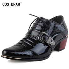 Luxury Men Formal Shoes High Heels Business Dress Shoes Male Oxfords Pointed Toe Oxford Shoe For Men Wedding Leather Shoe RMC559