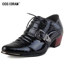 De luxe Hommes Formelle Chaussures Talons hauts Robe Chaussures D'affaires Bureau Mâle Oxford Bout Pointu De Mode Oxford Chaussures Pour Hommes RMC-559