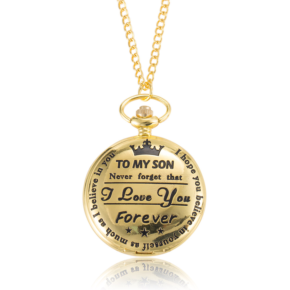 1pc Men Women Electronic 4.5cm Pocket Watch TO MY SON Carved Case With Chain LL@17