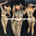 Sexy Rompers Rhinestones Jumpsuit Celebrity Birthday Jumpsuit Women's Outfit Bodysuit Nightclub Costume Female Singer Dance Wear