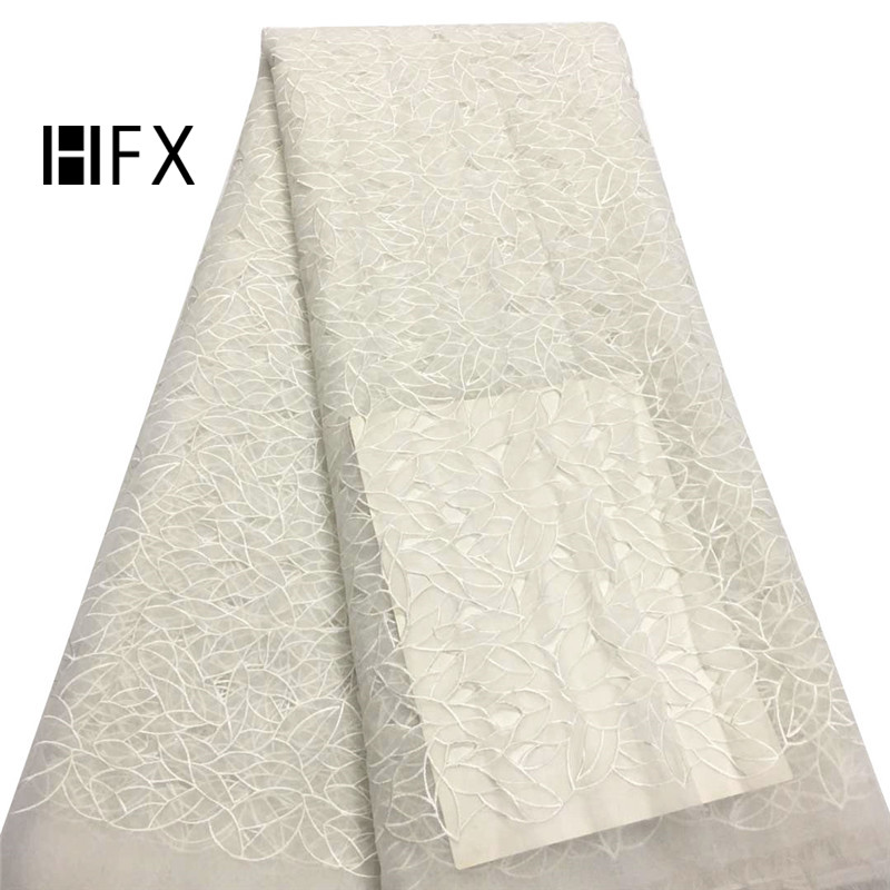 HFX Net Lace Fabric 2019 Embroidery French High Quality Beige Wedding Dress Bridal Tulle Lace African Fabrics for Party X1598HFX Net Lace Fabric 2019 Embroidery French High Quality Beige Wedding Dress Bridal Tulle Lace African Fabrics for Party X1598