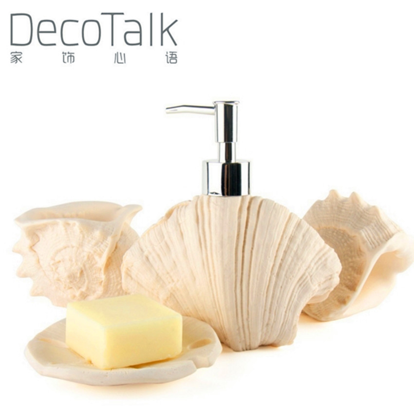 Buy Nordic Ocean Theme Decotalk Bathroom Set 4 Pieces Set Sandstone Bath