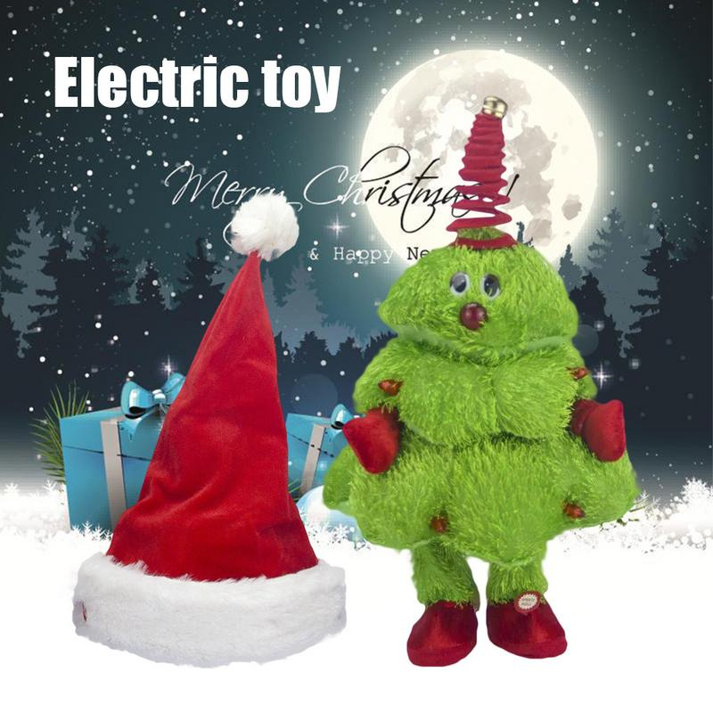 Electric Christmas Toy Singing Dancing Moving Christmas Tree Hat Electric Children's Toy Kids Christmas Present Without Battery