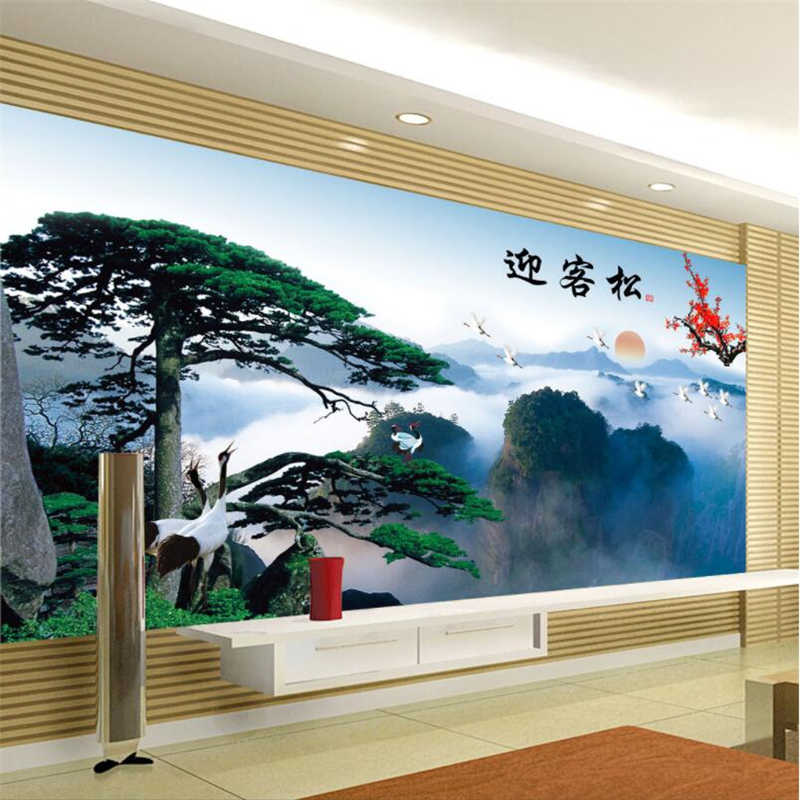 beibehang Custom 3d wallpaper china style landscape welcoming pine wall paper sofa living room bedroom tv backdrop wall decor