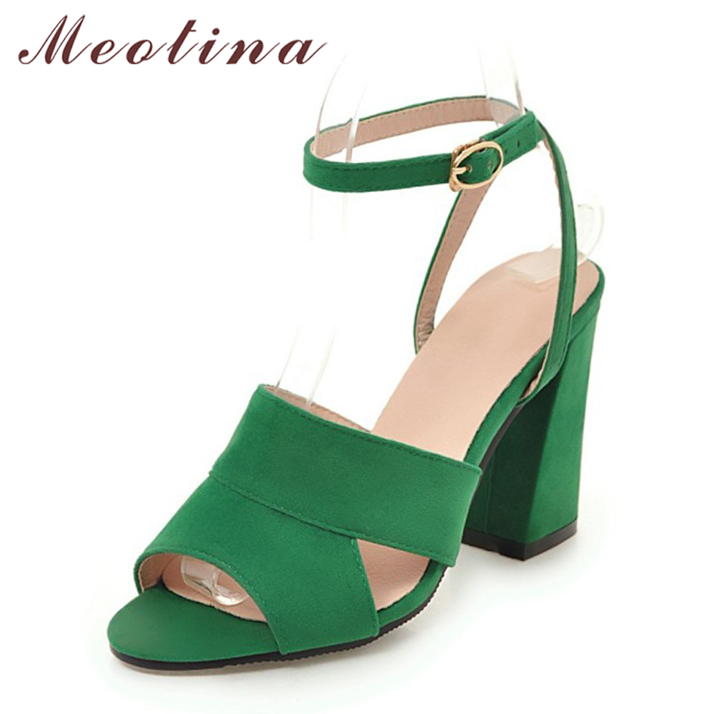 Meotina Women Sandals High Heels Ladies Summer Shoes Black Open Toe Thick Heels Party Shoes Female 2018 Buckle Green Big Size 43 2017 summer new sandals exposed toe high heels female sexy thick with buckle shoes wholesale