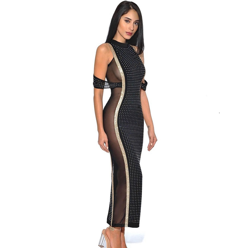 De Femmes Piste Designer Mode Street High Robe Diamants 2018 Perspective Perlée Date Longue Parti HqFxR