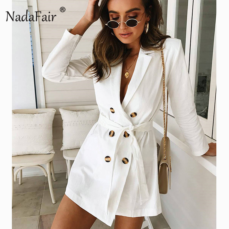 Nadafair turn-down collar white long trench women double breasted sash slim autumn winter coats female office wear ol style