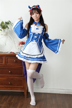 Re Zero Kara Hajimeru Isekai Seikatsu Emilia Maid delantal vestido azul  partido vestido uniforme traje Anime Cosplay Disfraces p. d279098e81fe