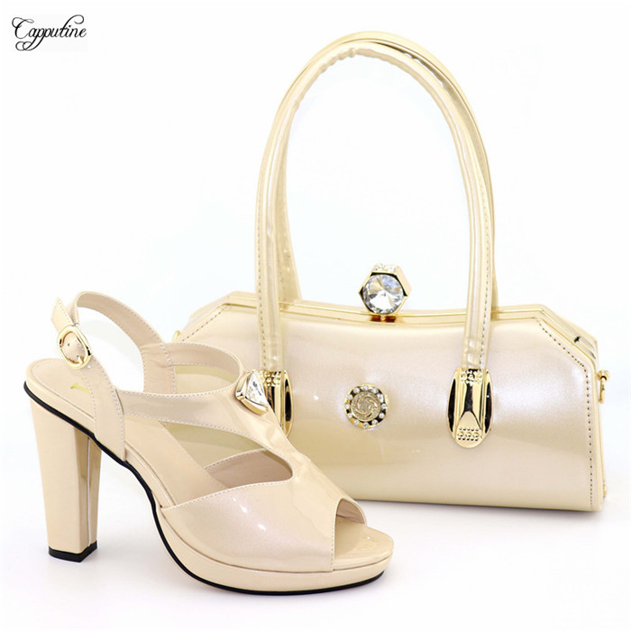 Élégant parti chaussures à talons hauts et sac à main ensemble belle correspondance pour robe de soirée 8103 en beige, hauteur du talon 11.4 cm