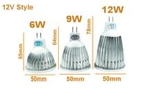 Cheap MR16 COB LED LAMP 6W 9W 12W GU5.3 MR16 LED COB SPOTLIGHT WARM WHITE 12V 110V 220V LED DOWNLIGHT DIMMABLE Lampada