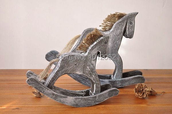 Curtain Gift free Shipping Zakka Log Do Old Rocking Horse Handicraft Furnishing Home Decor Childhood Memories Craft 2pcs/lot
