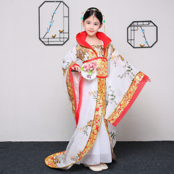 Children's Ancient Costume Girls Tang Dynasty Court Drag Tail Dance Dress Embroidery Suit Princess Guzheng Stage Performance