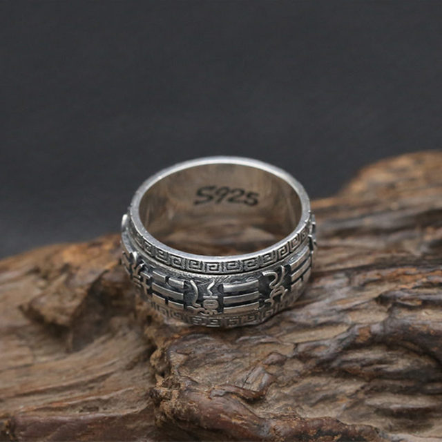 Solid 925 Sterling Silver China Bagua Rotating Spinner Rings Men Gothic Punk Style Cool Thai Silver Jewelry Men Lucky Band Gifts