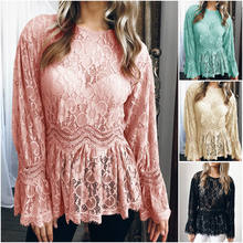 7eed0823532487 2018 NEW Vintage Women Summer Long Sleeve Lace Hollow out Shirts  See-through Slim O-neck Party Evening Blouse Tops
