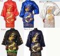 Los Hombres chinos de Satén de Seda Bordado Robe Kimono Vestido Del Baño Del Dragón Sml XL XXL XXXL S0008