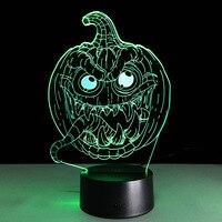 The New Halloween Jack O Lantern 3D Lamp LED Colorful Gradient USB Lamp New Creative Visual