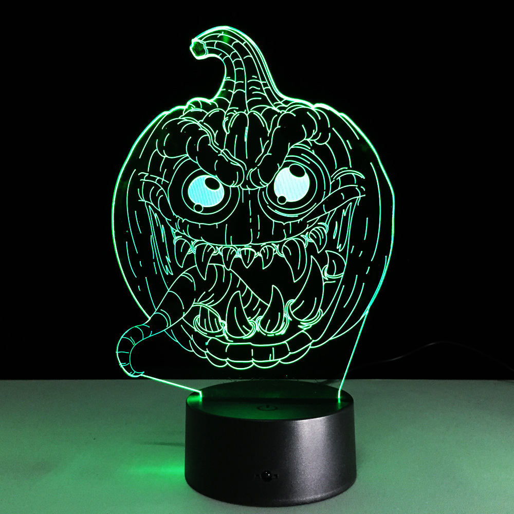 The New Halloween Jack O Lantern 3D Lamp LED Colorful Gradient USB Lamp New Creative Visual