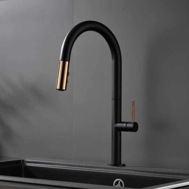 Newly Arrived Pull Out Kitchen Faucet Rose gold and White Sink Mixer Tap  360 degree rotation kitchen mixer taps Kitchen Tap