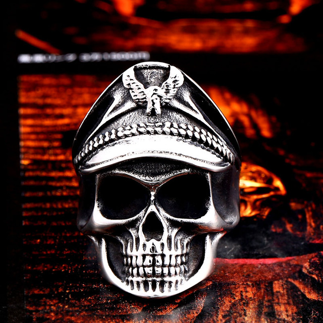 STAINLESS STEEL MILITARY SKULL RING