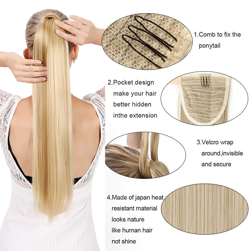 SNOILITE 17''23'' Long Silky Straight Ponytails Clip In Synthetic Pony Tail Fake Hair Extension wrap round hairpiece for women 1