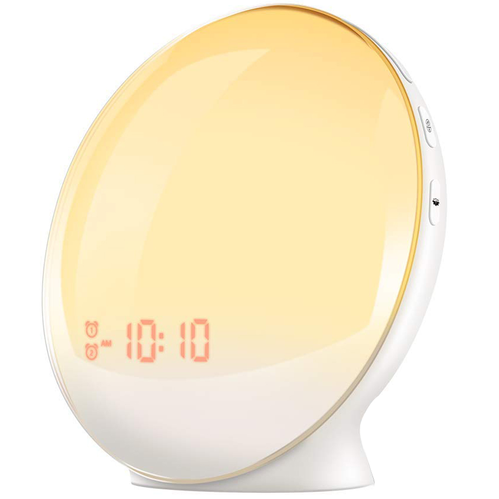 ABKM Hot Alarm Clock Wake- Up Light, Lbell Alarm Clock 8 Colored Sunrise Simulation & Sleep Aid Feature, Dual Alarm Clock With FABKM Hot Alarm Clock Wake- Up Light, Lbell Alarm Clock 8 Colored Sunrise Simulation & Sleep Aid Feature, Dual Alarm Clock With F