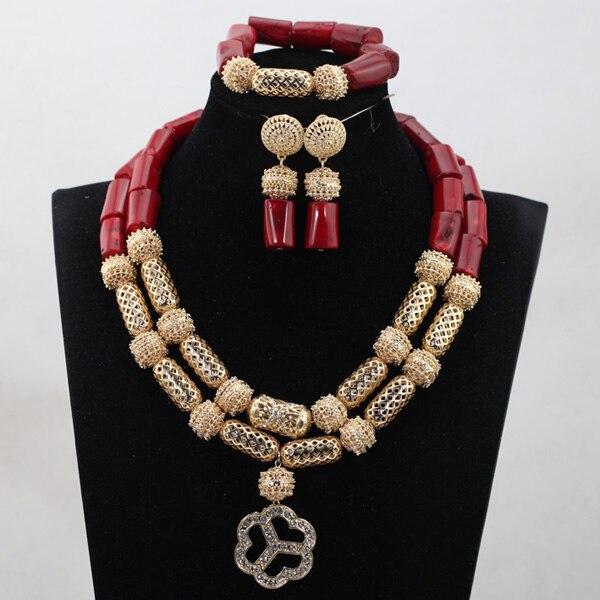 Vin rouge pendentif corail bijoux Style fête africaine anniversaire femmes collier bijoux ensemble nouveau livraison gratuite CNR775