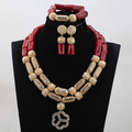 Wine Red Pendant Coral Jewelry Style African Party Anniversary Women Necklace Jewelry Set Gold Plated Free Shipping CNR775