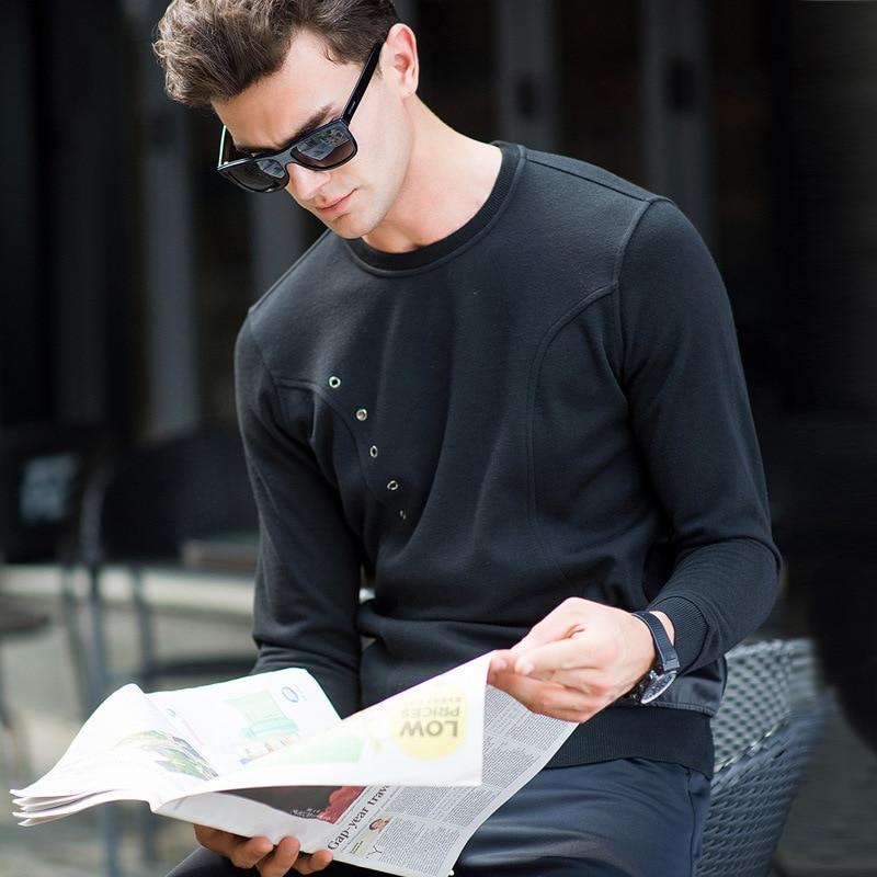 87210 new arrival men's Spring and autumn fashion o-neck hoodies Black Slim knit cotton shirt high quality size S M L XL XXL