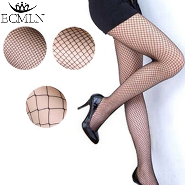 Black medium grid SEXY women high waist stocking fishnet club tights panty knitting net pantyhose trouser large mesh lingerie