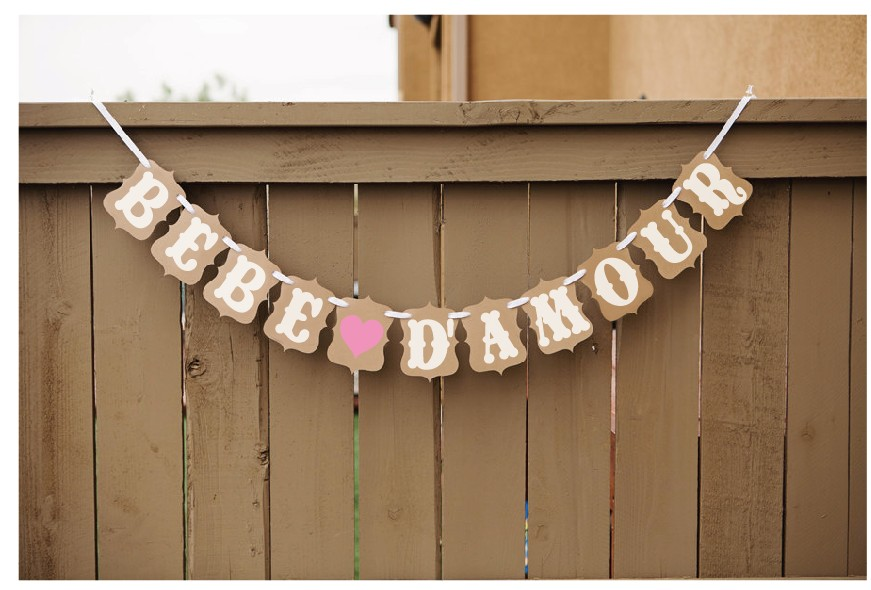 Free Shipping 1 X BEBE DAMOUR French Banner Kids Birthday Party Photo Prop Sign Hanging Bunting Garlands
