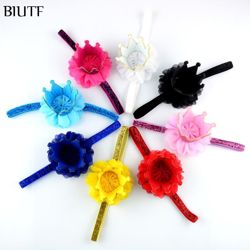 50pcs/lot Princess Crown Headband girl Boutique Elastic Head Band with Glittler Tiara and Chiffon Flower FDA210