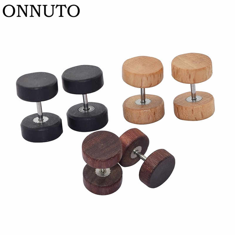 8mm Personality Wood Earrings Women Mens Unisex Fashion Jewelry Accessories Round Wooden Hip-Hop Stud Earring Gifts