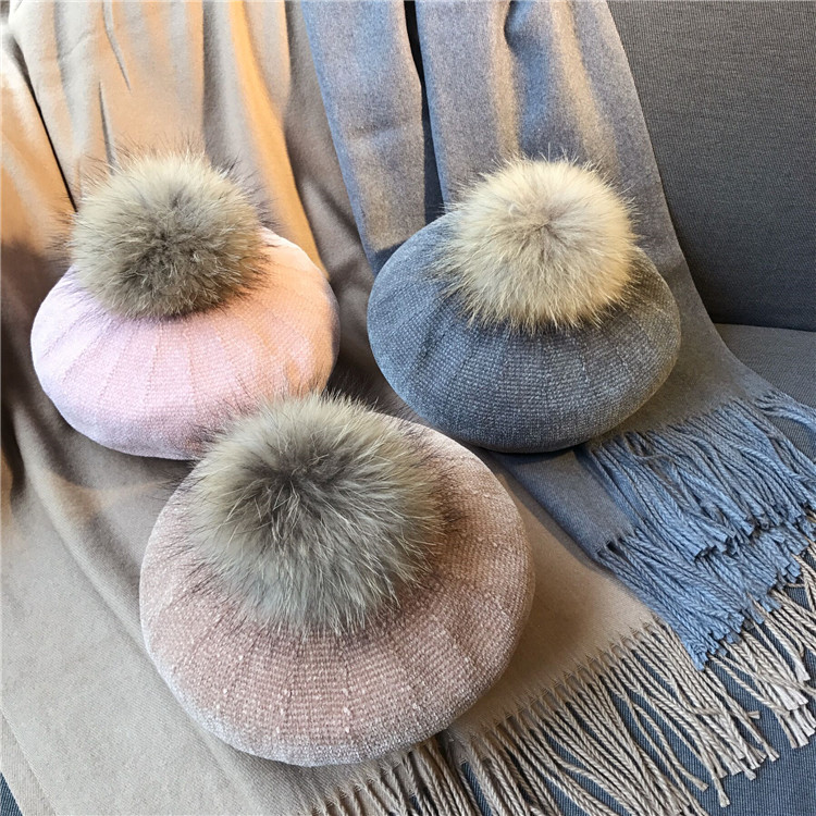 GZ001 Winte Women Wool Knitted Beret Natural Raccoon Fox Fur Pompom Hat Solid Beret Cap Pom