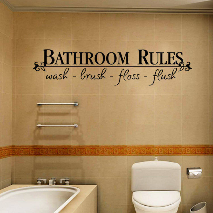 1pc Bathroom Rules Characters Letters Self Adhesive Wall Sticker Pvc Waterproof Removable Home Decor 2006ws In Stickers From