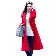 2018 Women Autumn Winter Wool Coat Slim Elegant Long Blends Lady Plus Size Windbreaker