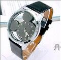 Mickey de la manera de Las Mujeres Relojes 2016 reloj de cuarzo ocasional transparente hollow dial cuero relojes mujeres vestido reloj relogio feminino