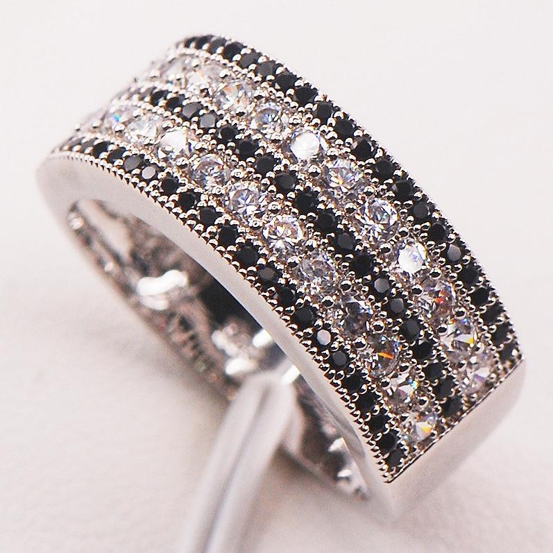 Crno Bijelo Crystal Cirkon 925 Sterling Silver Žena Veličina prstena 5 6 7 8 9 10 11 12 F586 Veleprodaja Nakit Besplatna dostava