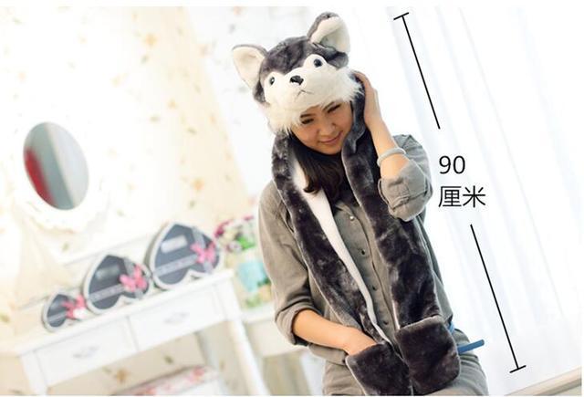 Winter Faux Fur Hat Women Ear Panda Wolf Rabbit Bomber Hats Animal Hoods Cartoon Caps Warm Plush Hats with Scarf Gloves 3in1