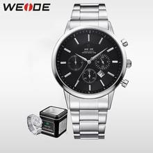 WEIDE Luxury Big Black  Mens Watches Japan Quartz Movement Full Stainless Steel 3ATM Waterproof Fashion Wrist Watch Analog Clock цена