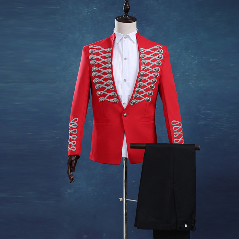 Vogue Palace Style Silver Embroidery Red Prince Tuxedos Classic Groomsmen Men Wedding Marshal Costumes (Jacket+Pants+Bowtie)