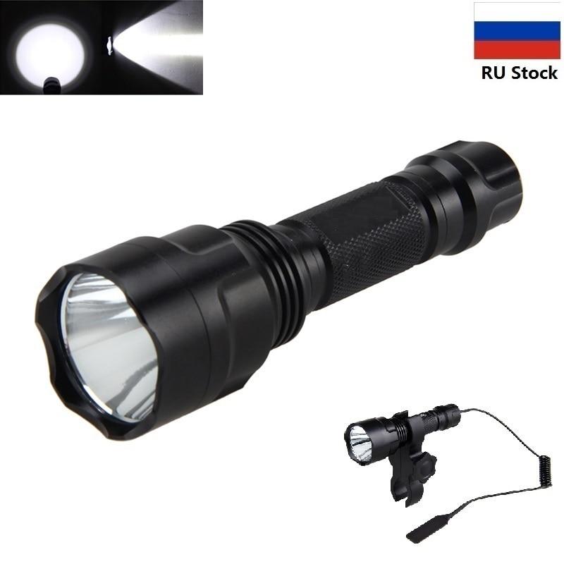 Taktische Taschenlampe 1000 lm XML T6 LED-Taschenlampe mit Taschenlampenhalterung für Jagd + Druckschalter + Batterie + Ladegerät