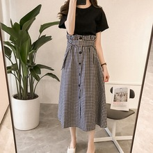 Fashion Plaid Sashes Skirt + Casual Basic Tee Shirt Women's Suit High Waist Slim Skirt Women Crop
