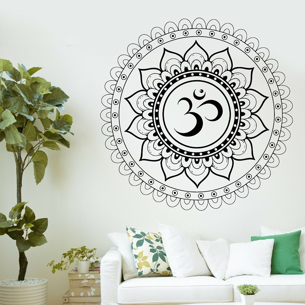 US $8.98 25% OFF|Mandala Wall Stickers Home Decor Living Room Buddha Aum  Sanskrit Symbol Vinyl Wall Art Decals Bedroom Removable Wallpaper D989-in  ...