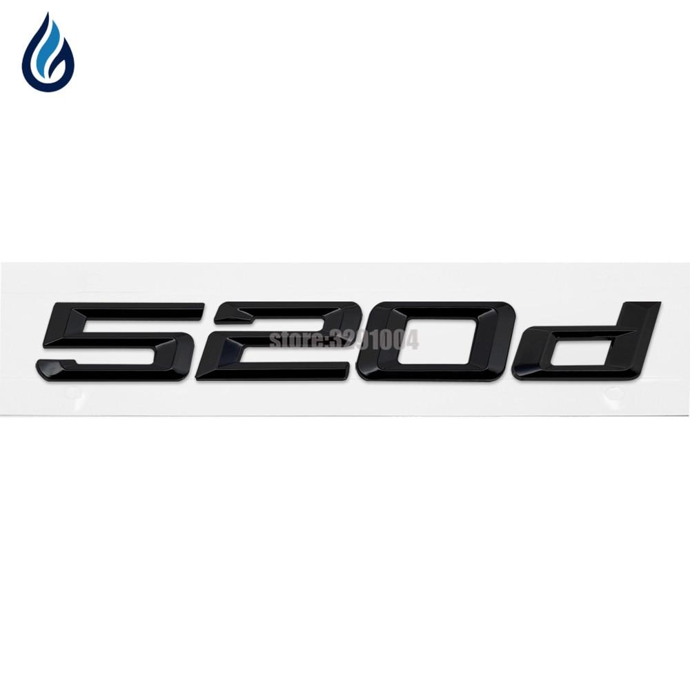 GLOSS BLACK BMW 520D REAR BOOT LETTER EMBLEM BADGE FOR 5 SERIES E60 E61 F10 F11