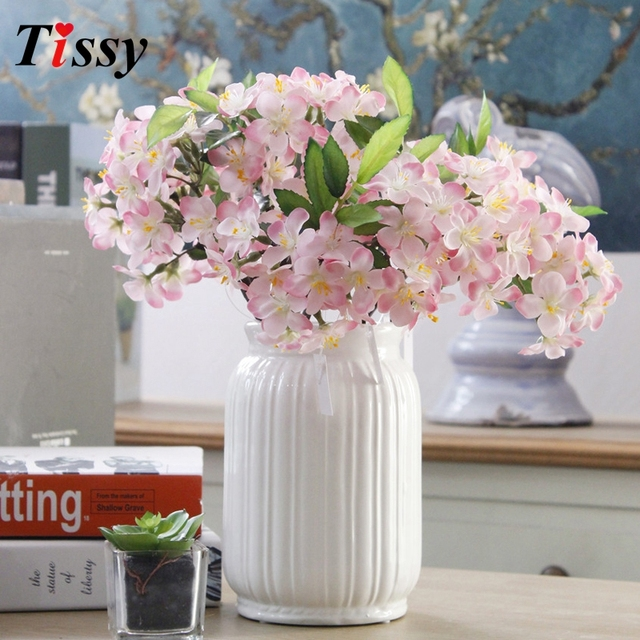 1PC White&Pink Artificial Flowers Cherry Blossoms Flowers DIY Flower ...
