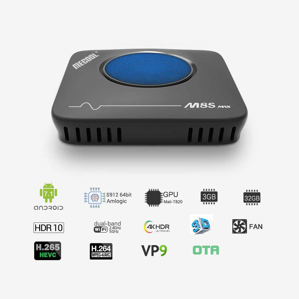 Mecool M8S Max Smart Android 7.1 Box TV 3 GB/32 GB Amlogic S912 UHD 4K Octa- core Android Box 2.4G 5G Wifi Lan BT4.0 Android Kotak