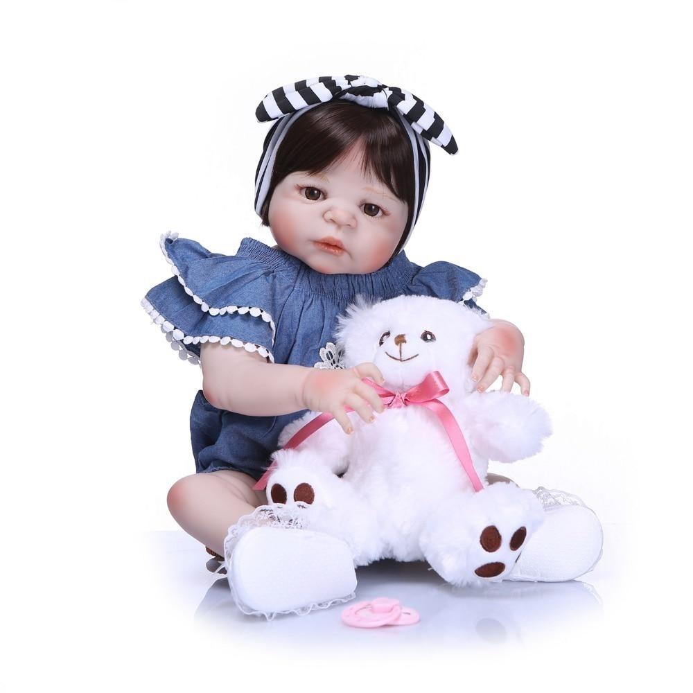 NPK 55cm Soft Full Body Silicone Reborn Dolls Realistic Baby Doll 22 Inch Vinyl Boneca Bebe Reborn Doll Gift For Kids npk 55cm full silicone reborn dolls girl baby realistic doll reborn 22 inch full vinyl boneca bebe reborn doll for girls