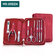 MR.GREEN 9 IN 1 multi-function tools nail clippers Manicure Set Professional Stainless steel nail clippers scissors grooming kit недорого