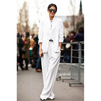 New White 2 Pieces Sets Womens Business Suits Formal Pant Suits For Weddings Tuxedo OL Long Sleeve Female Trouser Suit Custom